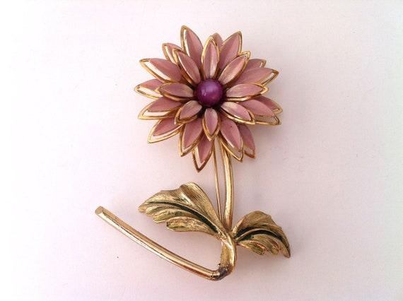Flower Pin, Purple and Gold Vintage Brooch, Flower Brooch, Women's Jewelry, Large Brooch