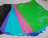 """100 12x15"""" 5 Color Plastic Merchandise Bags w/Die Cut Handles, Retail Gift Bags, Wholesale Lot"""