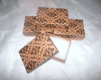 """Lot of 50 Damask Print  Cotton Filled  Jewelry Presentation Gift Display  Boxes 3.25""""x2.25""""x1"""""""
