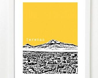 Yerevan, Armenia Poster -  City Skyline Art Print - Yerevan Skyline Poster