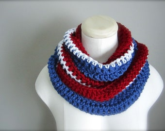 Crochet Red, White, and Blue, NHL, New York Rangers Hockey, Football, Soccer, Olympic Sports Team Colors Infinity Scarf, Men's Scarf, Un
