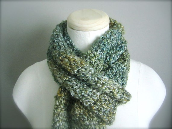 Crochet St. Patrick's Day Green,  Light Green, Yellow Green, Spring Green Classic Fringe Scarf, Women's Scarf, Men's Scarf, Unisex Scarf