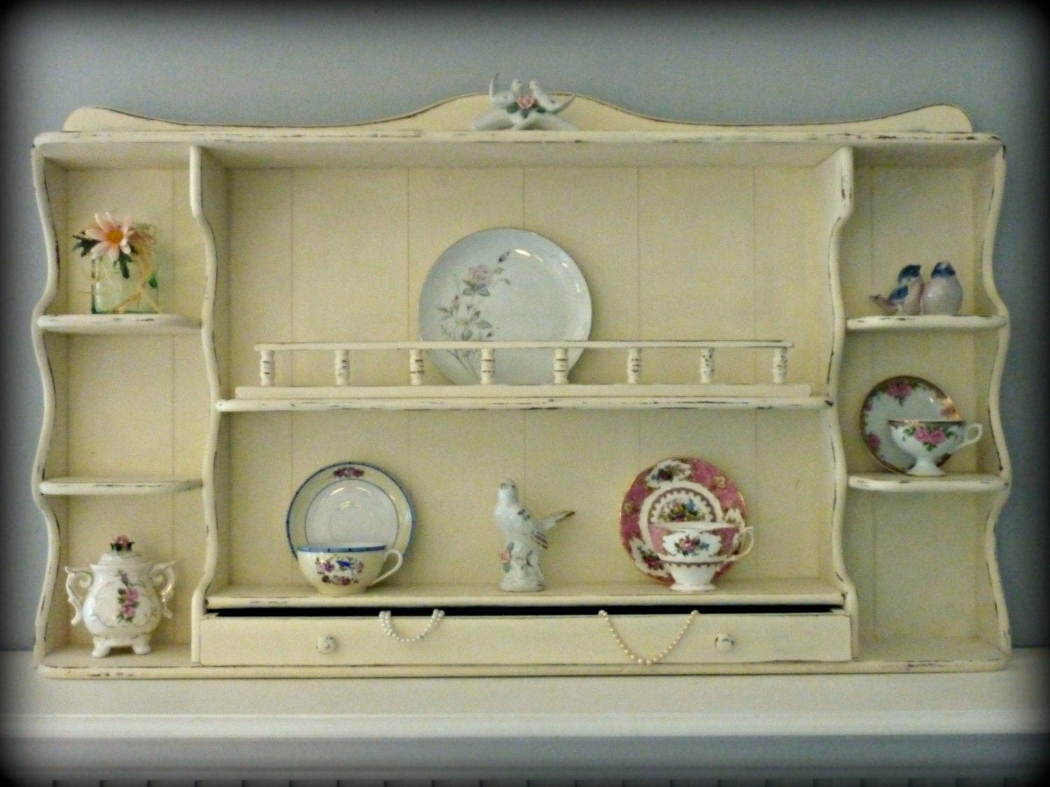 shabby chic tea cup shelf reserved for candy. Black Bedroom Furniture Sets. Home Design Ideas