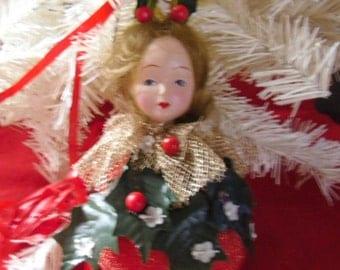 Vintage Christmas Ornament / Victorian Porcelain Doll Head on Ball