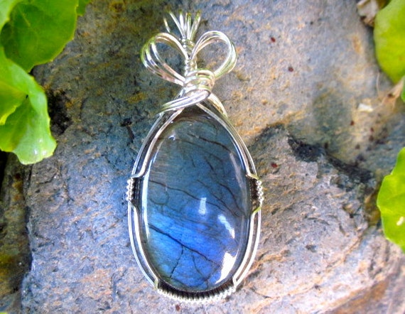 Blue Flash Labradorite Gem Stone Sterling Silver Wire Wrapped Pendant