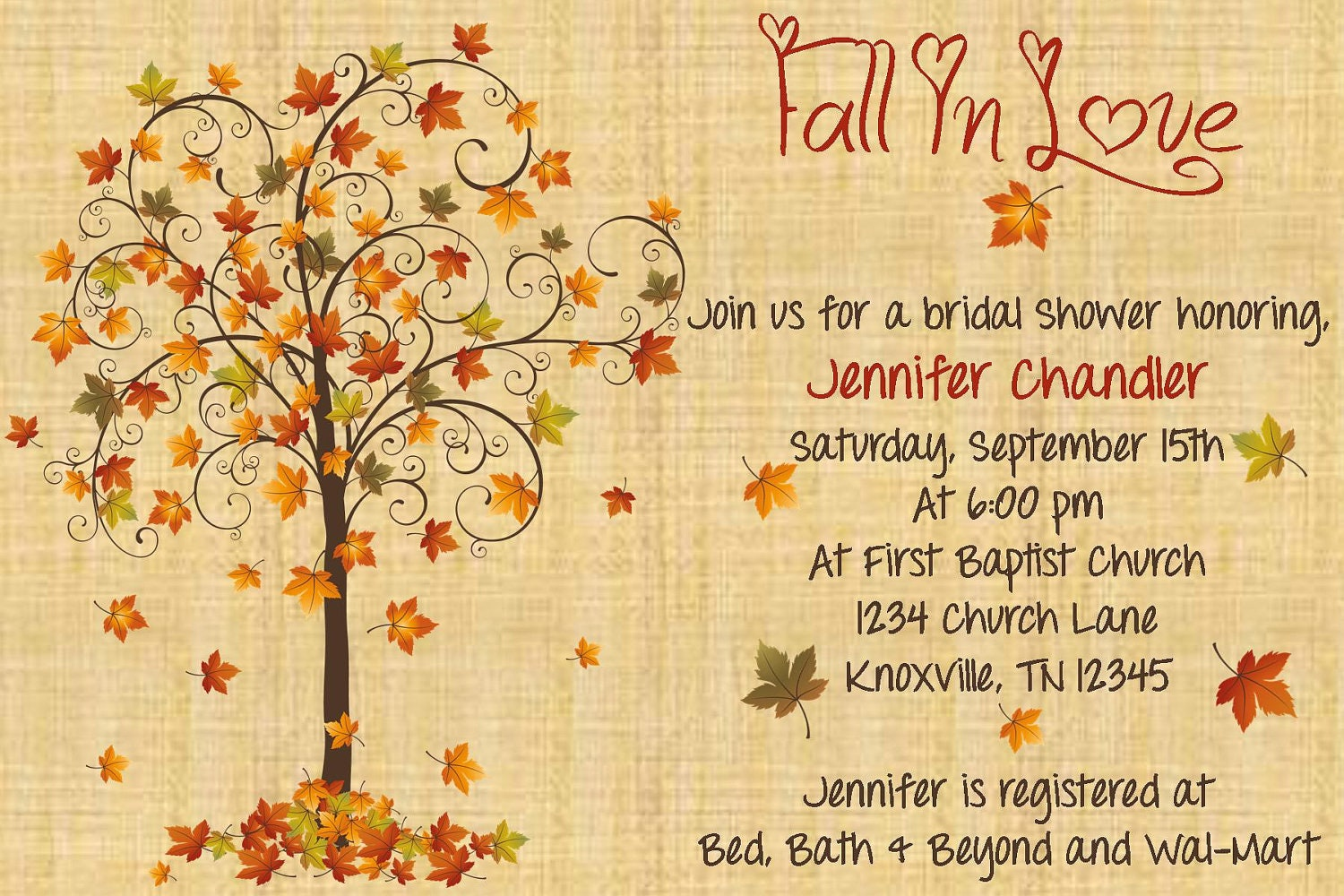 Fall Wedding Shower Invitations: Fall In Love Bridal Shower Invitation By WhateverIs On Etsy