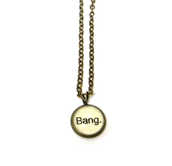 Bang Big Bang Word Necklace Brass Setting Library Card Pendant One of a Kind