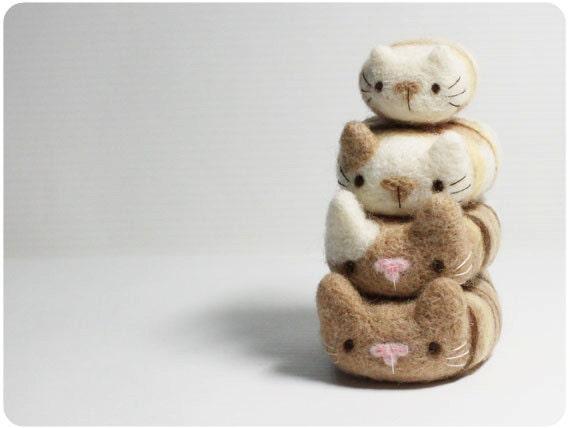 Cat Pebbles - needle felted wool pebbles