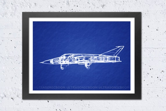 Jet Airplane Illustration Print, Blueprint Art, Techie Geek Modern, Sketch Print, Home Wall Office Decoration, Men Gift - 8.3x11.7in