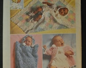 Vintage Baby's Layette Crochet Instructions for Sacque, Bunting, Receiving Blanket, Bonnet and Booties Simplicity 5488