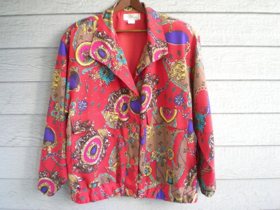 vintage 90s bomber jacket in red with baroque gold chain print. slouchy track jacket. oversized small - large.