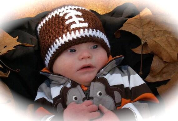 Crochet baby beanie FOOTBALL hat  premie newborn 0-3 month infant  white pink or blue boy or girl photo prop newborn football baby hat
