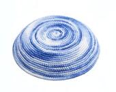 Variegated Blue & White Crochet Yarmulke (Kippah) Hand made - free shipping