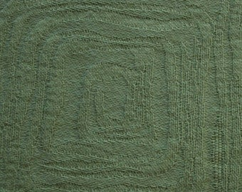 "SWATCH 3"" x 7"" BIG - 100% cotton - green fabric - textural design - woven square pattern - F-83-06"