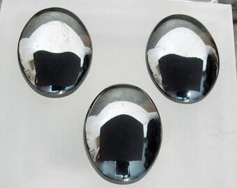 Hematite Natural Gemstone 3 Oval Shaped Cabochons - Hem26X18cab
