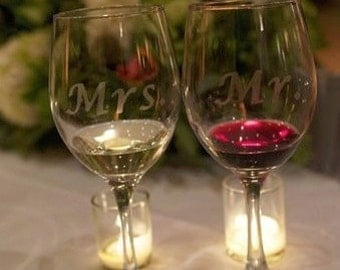 Mr. Mrs. Wine Glass, Etched Wine Glass
