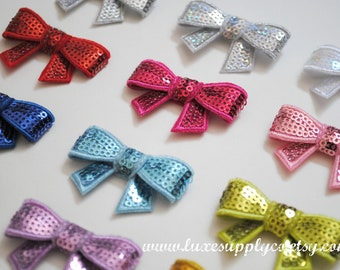 Sequin Bow Appliques - Your choice of 17 colors - You Choose the Quantity - Wholesale Discounts - DIY Crafting Supplies