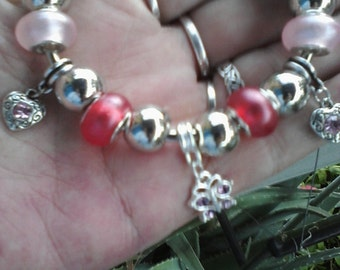 Hearts and Butterflies, pretty in pink, Euro style bracelet