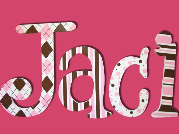 Items similar to baby girl letters wooden letters wall letters wooden signs personalized letters - Decorative wooden letters for walls ...
