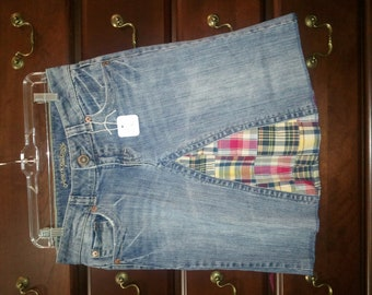 jean skirt with plaid insert