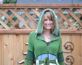 Hag Rags..... Upcycled Sweater Coat....Fields of Green.....hand beaded....