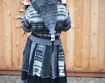 Hag Rags...... Upcycled Sweater Coat...Midnight Hour.....Stunning black and grey tones...