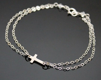 Sideways Cross Bracelet - Sterling Silver, Small Cross Bracelet, Dainty Bracelet, Silver Cross.