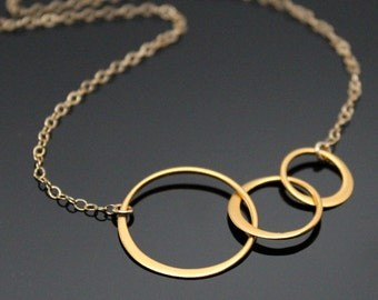 Gold CIRCLE Necklace, Three Interlocking Circle Necklace, Past Present Future, Three Circles, Minimalist Necklace, Gold Filled and Vermeil.