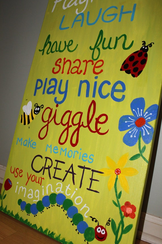 Items similar to playroom rules playroom art kids room for Kids room signs