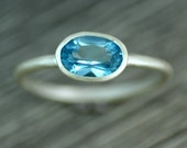 London Blue Topaz Silver Ring, December Birthstone, Oval Gemstone Ring, Skinny Ring, Ready to Ship UK size K