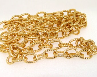 Gold Plated Metalic Chunky Curb Chain ----- 9mmx 14mm---thickness about 2mm----38""
