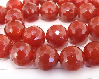 "Big Round Faceted Full Strand Red Agate Beads ----- 14mm ----- about 28Pieces ----- gemstone beads--- 15"" in length"