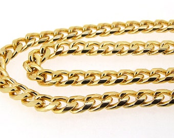 Newest Shiny Twist Cut  Gold Plated Metalic Aluminium Chunky Curb Chain ----- 7mmx 10mm---thickness about 2mm----38""