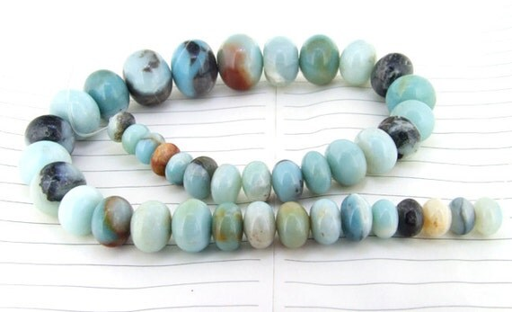 """Charm Rondelle amazone Jasper Gemstone Beads--- 10mmx20mm----about 40Pieces----15.5"""" in length"""