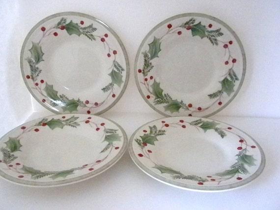 Lenox, 4  Bone China, Holiday Gatherings, Set of 4, Dessert/Bread Plates, Christmas China