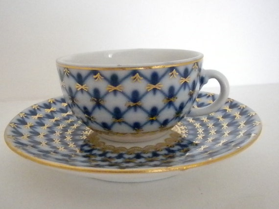 Lomonosov, Cobalt Net Miniature, Tea Cup and Saucer, Made in Russia