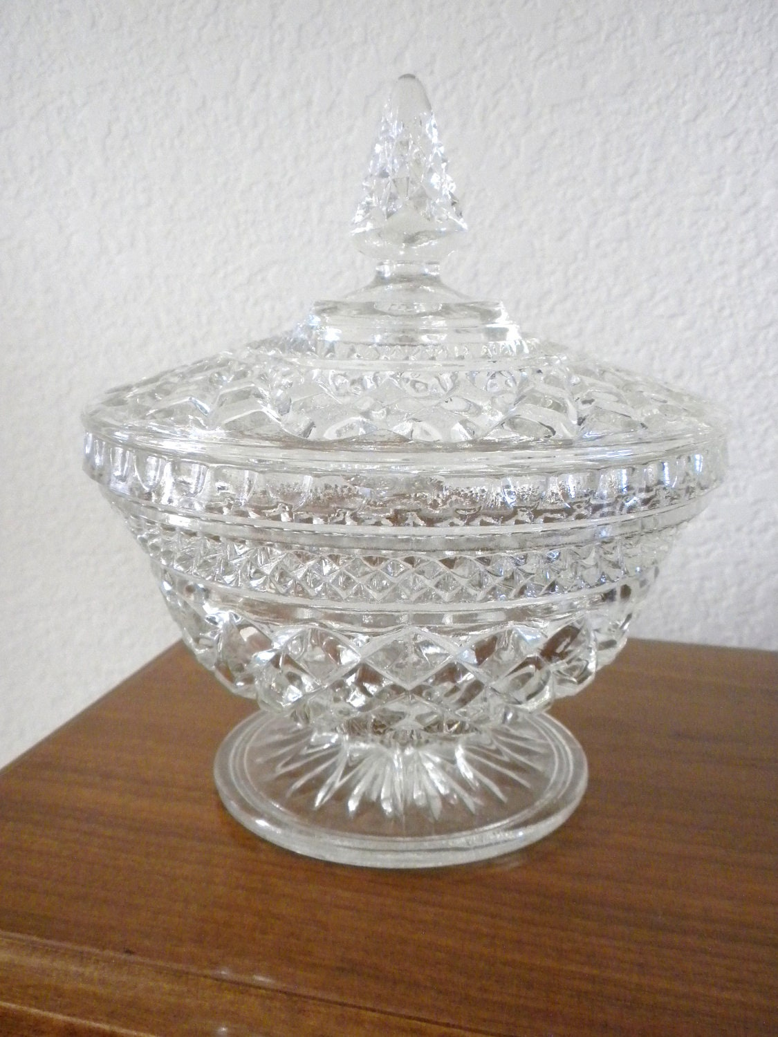 Vintage Large Cut Crystal Candy Dish With Lid By Oldandnew8