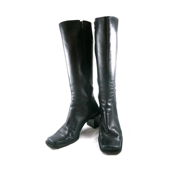 Gorgeous buttery leather vintage tall knee high riding boots 8 M - black equestrian shoes