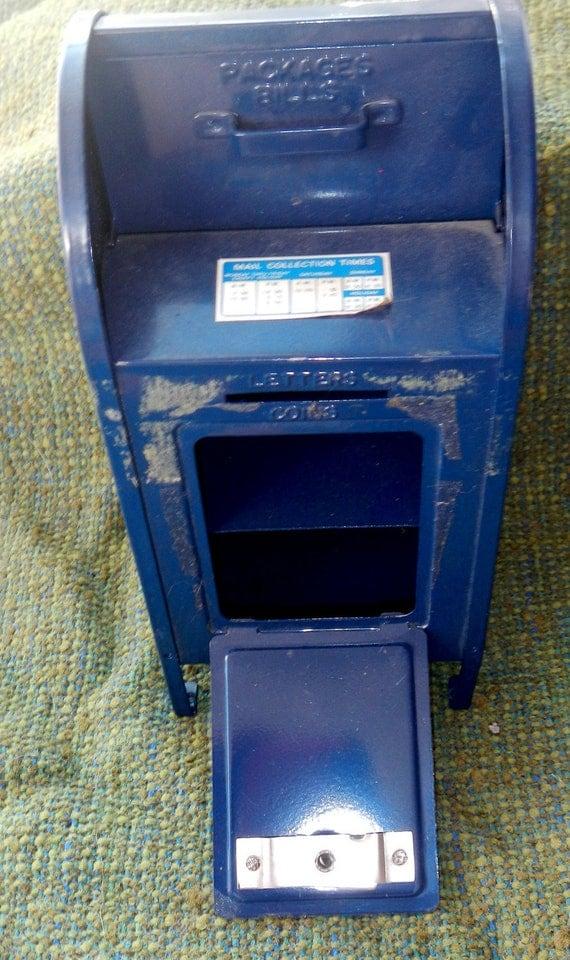 vintage blue post office mail box bank. Black Bedroom Furniture Sets. Home Design Ideas
