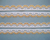 """Golden Scalloped Lace Trim, White / Gold, 5/8"""" inch wide, 1 Yard, For Scrapbook, Mixed Media, Apparel, Home Decor, Accessories"""