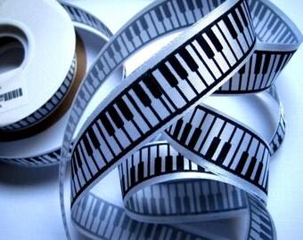 "Piano Keyboard Ribbon Trim, Black / White, 7/8"" inch wide, 1 yard, For Scrapbook, Decor, Accessories, Mixed Media"