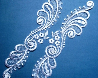 Long Bridal LiIllies Lace Applique, White, x 2, For Bridal, Apparel, Accessories, Costumes, Mixed Media, Romantic Crafts