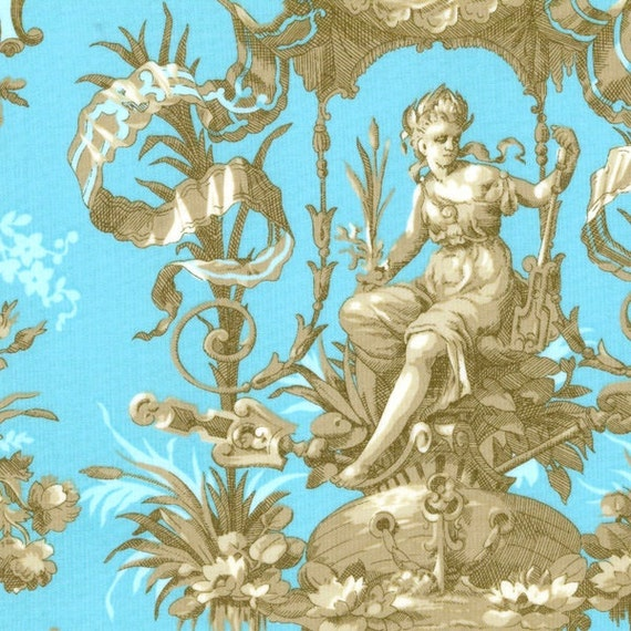 "Elegant Wallpaper Fabric, Fat Quarter,  Blue / Gold, 18"" X 22"" inches, 100% Cotton, For Victorian & Romantic Projects"