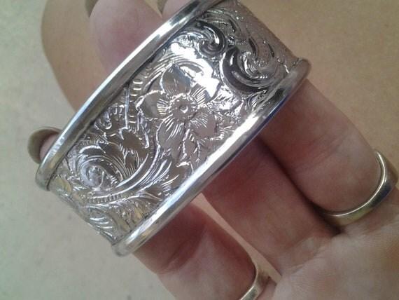 Reserved Silver Filigree Floral Cuff Bracelet