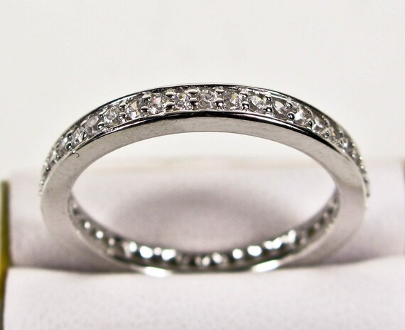 White Sapphire 925 Silver Eternity Band