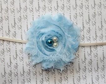 Light Blue Chiffon Baby Flower Headband, Baby Headband, aby Girl Headband, Photography Prop
