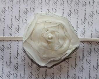 Ivory Shimmer Chiffon Baby Flower Headband, Newborn Headband, Baby Flower Headband, Baby Girl Flower Headband, Photography Prop