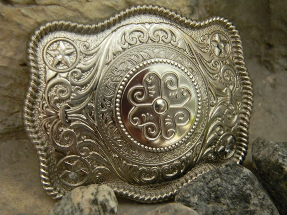 Custom silver belt buckles western