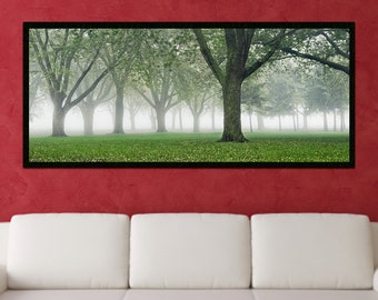 Framed Photo Printed on Canvas - Foggy Green Forest