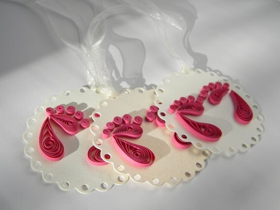 Items similar to baby girl tag baby girl shower decor for Baby feet decoration